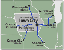 Map of the midwest US, showing distances to Iowa City, IA from nearby major metropolitan areas.