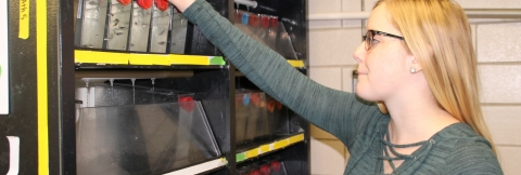 Undergraduate Biology student, Emily Ruba, doing research in the Slusarski Lab.