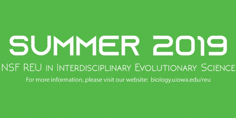 Summer 2019 NSF REU in Interdisciplinary Evolutionary Science. For more information, please visit our website.